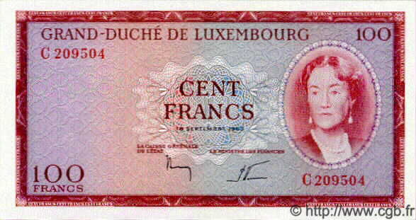 100 Francs LUXEMBOURG  1963 P.52 NEUF