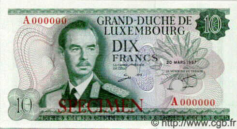 10 Francs LUXEMBOURG  1967 P.54s NEUF
