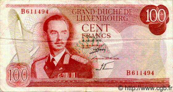 100 Francs LUXEMBOURG  1970 P.55 TTB+
