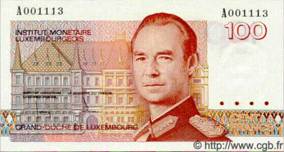 100 Francs LUXEMBOURG  1986 P.58a NEUF