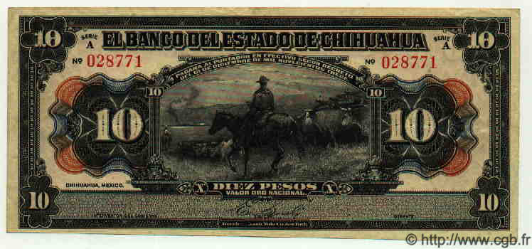10 Pesos MEXIQUE  1913 PS.0133a TTB