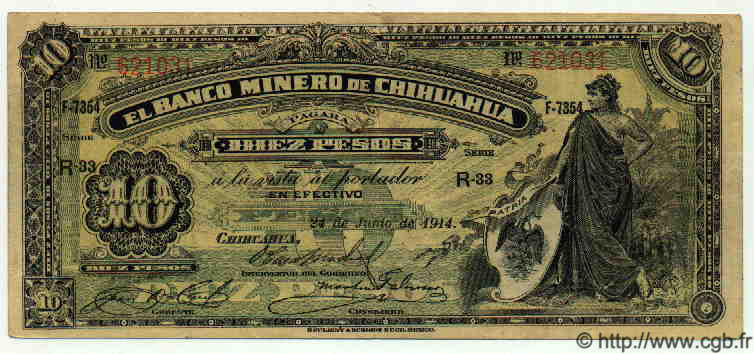 10 Pesos MEXIQUE  1914 PS.0186 TTB