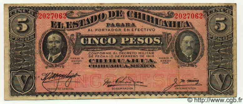 5 Pesos MEXIQUE  1915 PS.0532c TB+