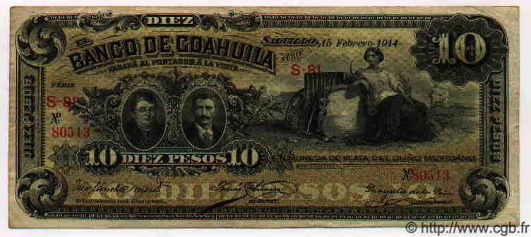 10 Pesos MEXIQUE  1914 PS.0196c TTB