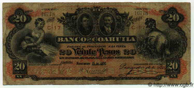 20 Pesos MEXIQUE  1900 PS.0197b B+