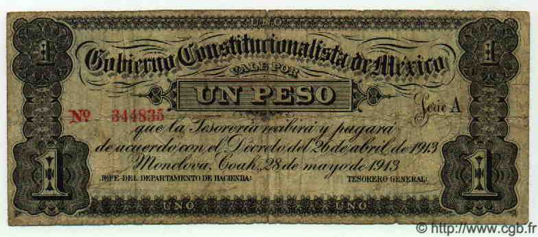 1 Peso MEXIQUE  1913 PS.0625a pr.TB