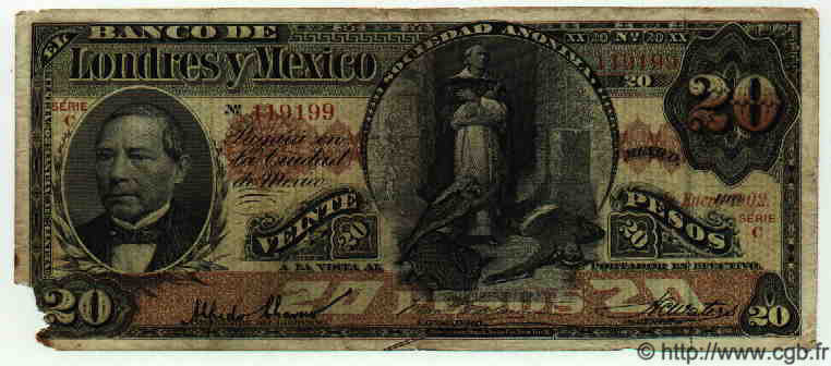 20 Pesos MEXIQUE  1902 PS.0235c B