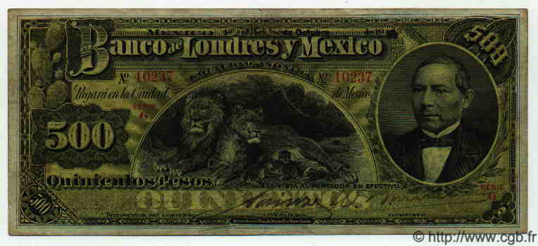 500 Pesos MEXIQUE  1913 PS.0238a pr.TTB