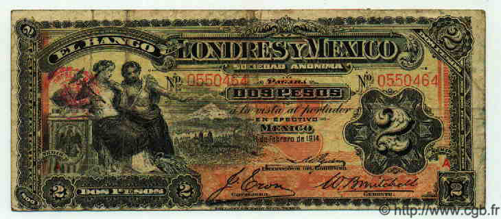 2 Pesos MEXIQUE  1914 PS.0241 TB