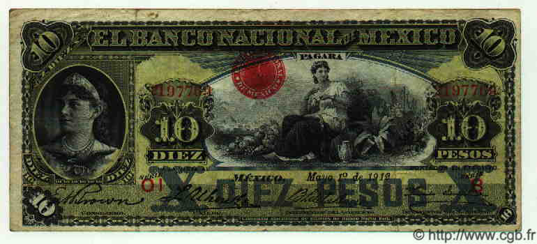 10 Pesos MEXIQUE  1912 PS.0258e TB