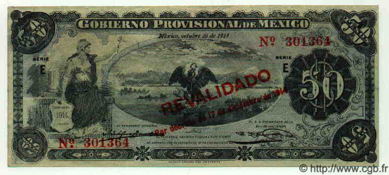 50 Pesos MEXIQUE  1914 PS.0707e SPL
