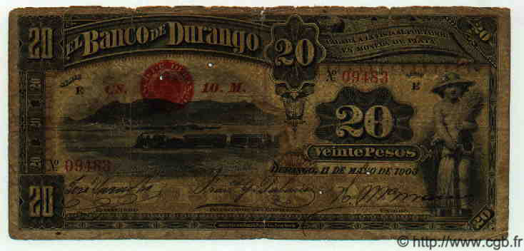 20 Pesos MEXIQUE  1903 PS.0275b B