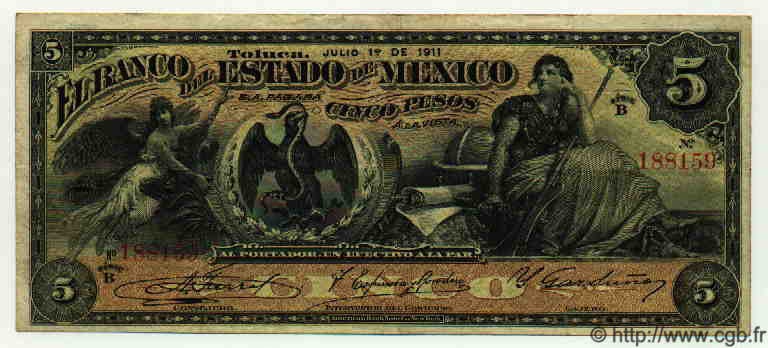 5 Pesos MEXIQUE  1911 PS.0329c TTB