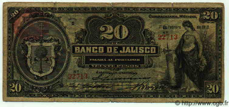 20 Pesos MEXIQUE  1910 PS.0322b B à TB