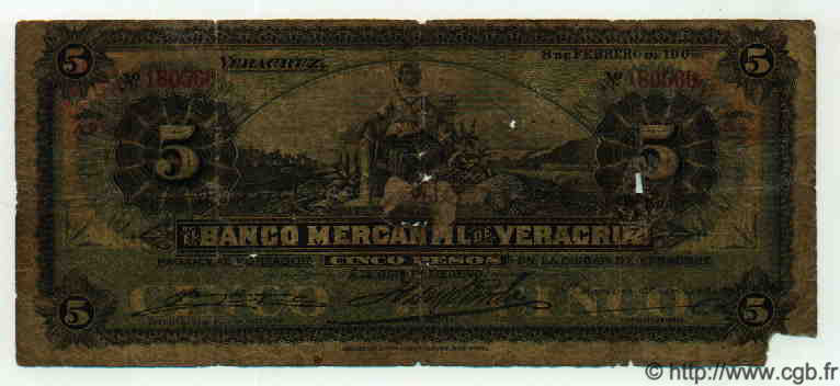 5 Pesos MEXIQUE  1905 PS.0437b AB