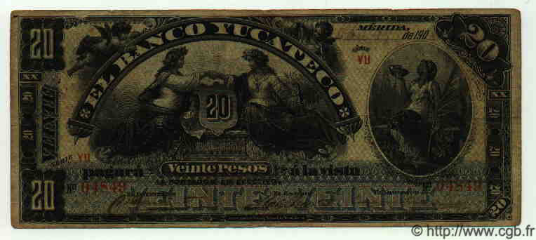 20 Pesos MEXIQUE  1901 PS.0469a TB