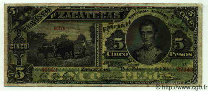 5 Pesos MEXIQUE  1914 PS.0475d TB