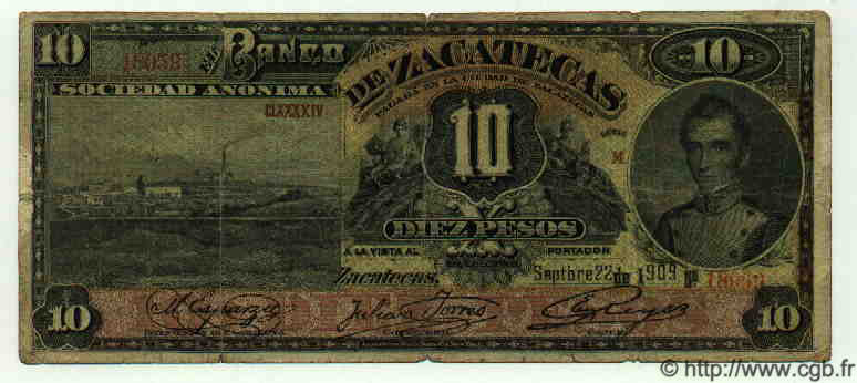 10 Pesos MEXIQUE  1909 PS.0476b B+