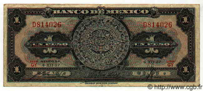 1 Peso MEXIQUE  1957 P.712d TTB