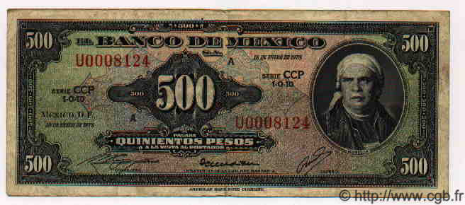 500 Pesos MEXIQUE  1978 P.720Bt TTB