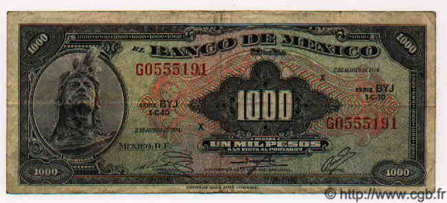 1000 Pesos MEXIQUE  1974 P.721Bs TB