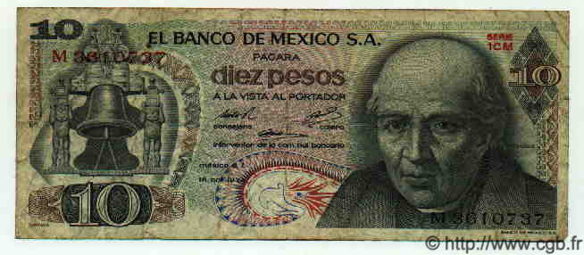 10 Pesos MEXIQUE  1974 P.724g TB
