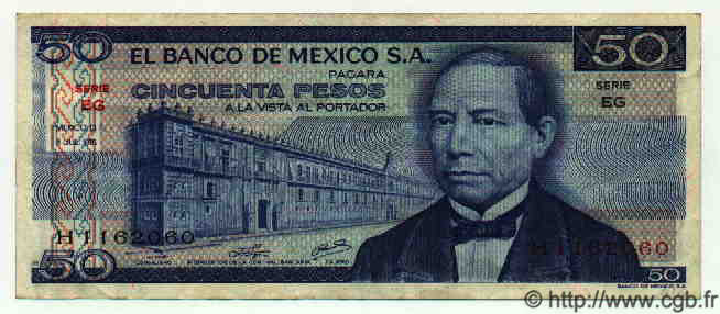 50 Pesos MEXIQUE  1976 P.726b TTB