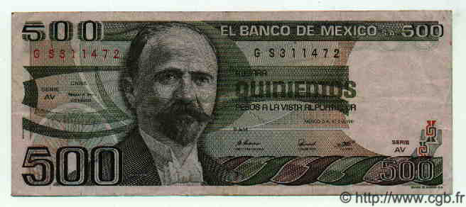 500 Pesos MEXIQUE  1981 P.733a TTB