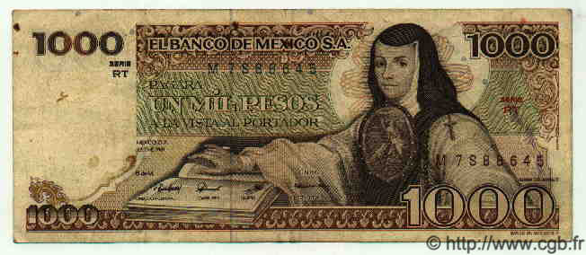 1000 Pesos MEXIQUE  1981 P.734a TTB