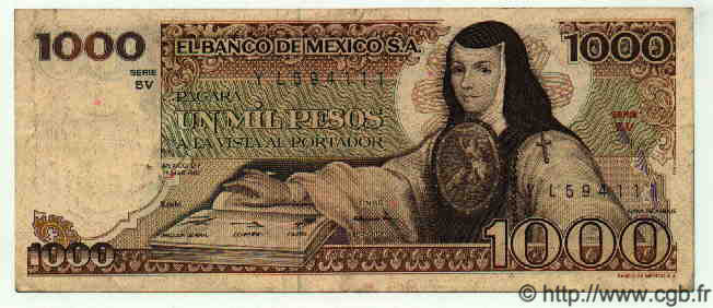 1000 Pesos MEXIQUE  1982 P.734c TTB