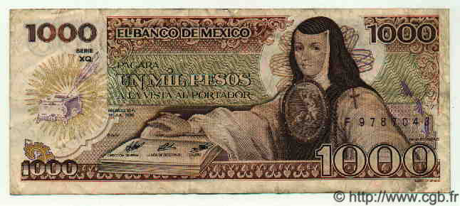 1000 Pesos MEXIQUE  1985 P.743 TB
