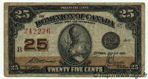 25 Cents CANADA  1923 P.011b TB