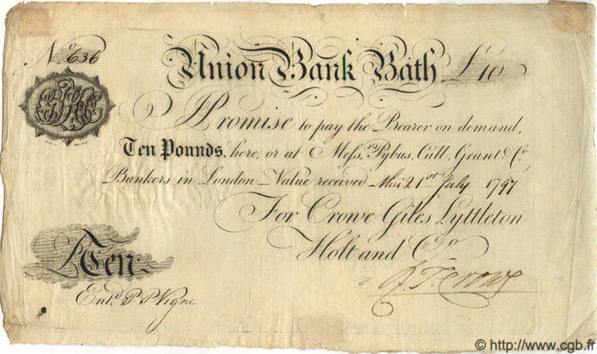 10 Pounds ANGLETERRE Bath 1797 G.0177B SUP