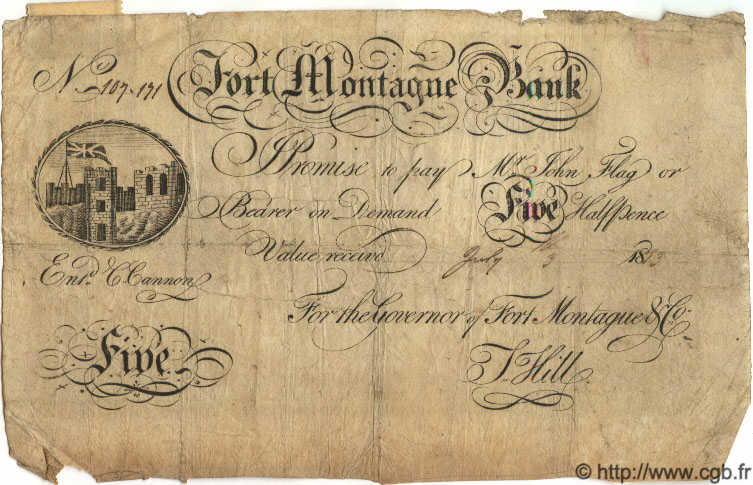5 Pounds ANGLETERRE Fort Montague 1813 G.6095A B