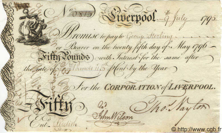 50 Pounds ANGLETERRE Liverpool 1796 G.6055 SUP