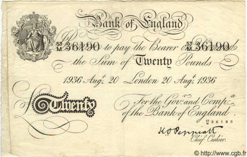 20 Pounds ANGLETERRE  1936 P.337a TTB
