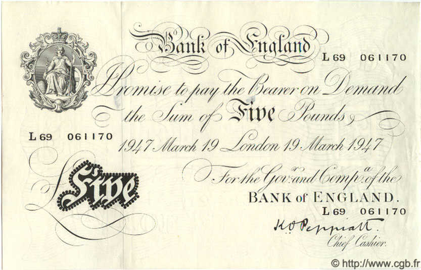 5 Pounds ANGLETERRE  1947 P.343 SUP