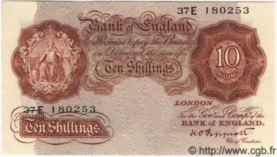10 Shillings ANGLETERRE  1948 P.368a NEUF