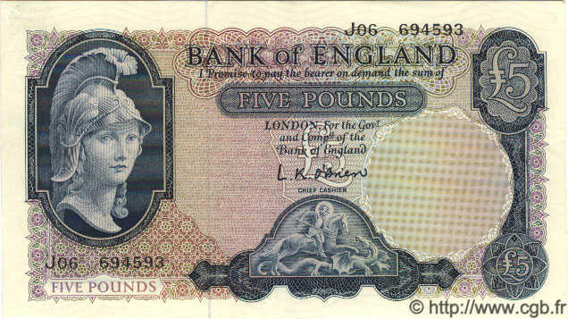 5 Pounds ANGLETERRE  1961 P.372 SUP