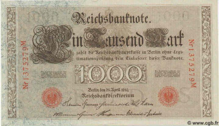 1000 Mark ALLEMAGNE  1910 P.045b NEUF