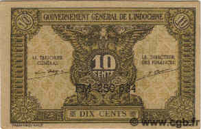 10 Cents INDOCHINE FRANÇAISE  1942 P.089a NEUF