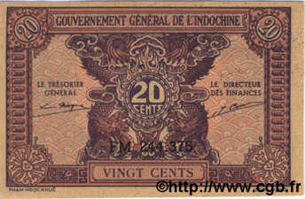 20 Cents INDOCHINE FRANÇAISE  1942 P.090 NEUF