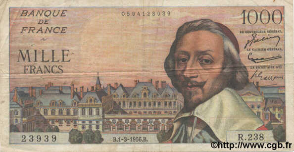 1000 Francs RICHELIEU FRANCE  1956 F.42.19 TB+