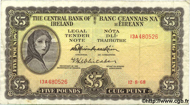 5 Pounds IRLANDE  1968 P.065a