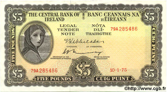 5 Pounds IRLANDE  1975 P.065c SUP