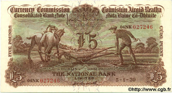5 Pounds IRLANDE  1939 P.027 SUP