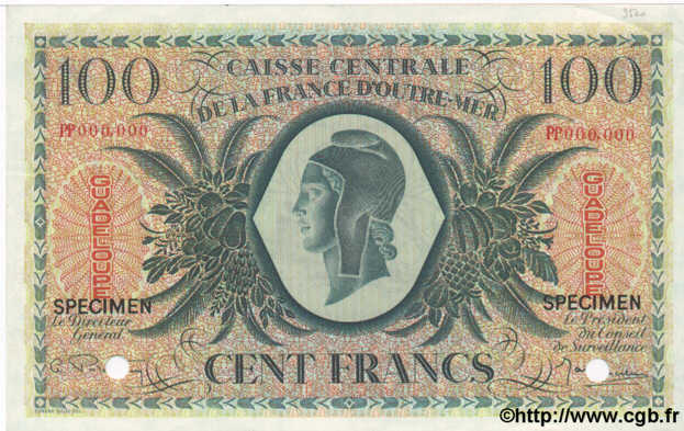 100 Francs GUADELOUPE  1944 P.29as SPL