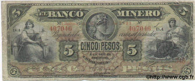 5 Pesos MEXIQUE  1911 PS.0163Ai B