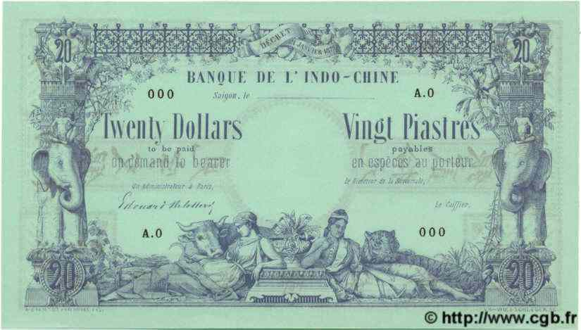 20 Dollars / 20 Piastres INDOCHINE FRANÇAISE  1876 P.002As NEUF