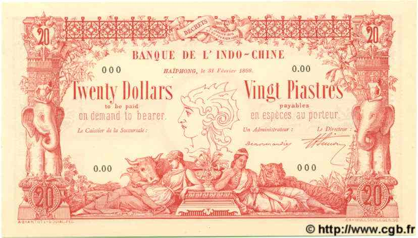 20 Dollars / 20 Piastres INDOCHINE FRANÇAISE  1898 P.016 NEUF